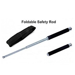 26 Folding Rod Iron Stick Padded Handle Security Guard Girls Self Defence