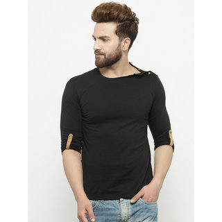 PAUSE Black Solid Round Neck Slim Fit Full Sleeve Men's T-Shirt
