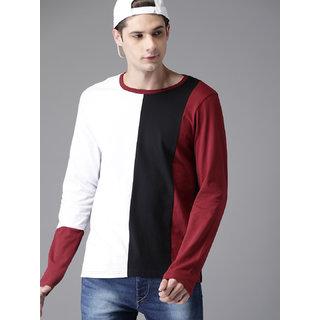 PAUSE Multicolor Stripes Round Neck Slim Fit Full Sleeve Men's T-Shirt