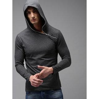 PAUSE Grey Solid Hooded Slim Fit Full Sleeve Men's Zipper T-Shirt
