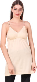 Be You Beige Cotton Hoisery Solid Chemise /Camisole / Suit Slip
