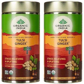 Organic India Tulsi Ginger 100 GM Tin- (Pack Of 2)