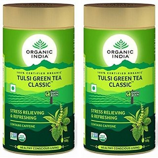 Organic India Tulsi Green Tea Classic 100 GM Tin- (Pack Of 2)