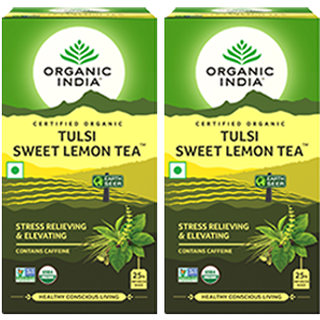 Organic India Tulsi Sweet Lemon 25 Tea Bags- (Pack Of 2)