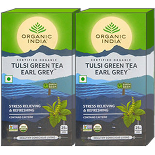 Organic India Tulsi Green Tea Earl Grey 25 Tea Bags- (Pack Of 2)