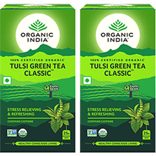 Organic India Tulsi Green Tea Classic - 25 Tea Bags- (Pack Of 2)