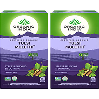 Organic India Tulsi Mulethi 25 Tea Bags- (Pack Of 2)