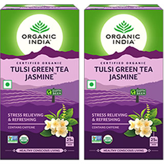 Organic India Tulsi Green Tea Jasmine 25 Tea Bags- (Pack Of 2)