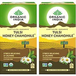 Organic India Tulsi Honey Chamomile 25 Tea Bags- (Pack Of 2)