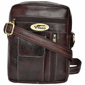 Vilasa Men's Genuine Leather Cross Body Bag - Brown