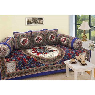 Premium furnishing jaipuri print deewan set  with single bedsheet, 2 bolster cover and 3 cushion cover(LXW) (63X90).
