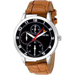 Golden Bell Original Black Dial Brown Leather Strap Analog Wrist Watch for Men - GB-03