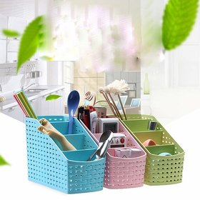Plastic 4 Compartment Utensils Holder for Spoons, Knives, Forks, Chopsticks Shakers