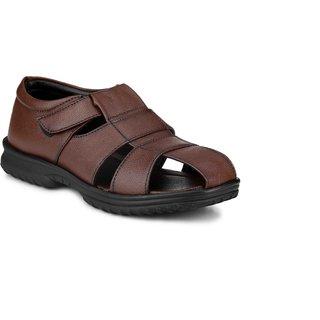 Manav Men's Brown Valcro Sandals