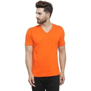 34c5229fb1d86 Buy Friskers Orange Men s Half Sleeve V-Neck T-shirt Online - Get 50% Off
