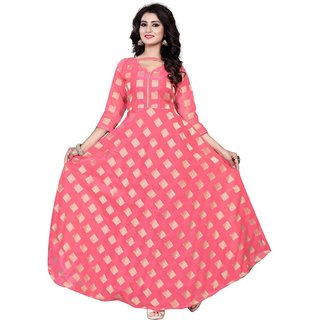 Florence Women's Pink Chanderi Printed Stitched Gown