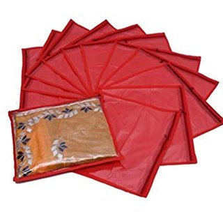 krishna e- kart Red Saree Covers - 12 Pcs