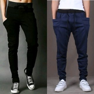 Exasize Black Navy Cotton Blend Running Trackpants For Men Pack of 2