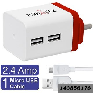 Combo Of Dual Usb 2.4 Amp Wall Charger (White-Red) + 3 Feet Lightening Fast Sync Charge Micro Usb Data Cable