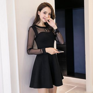 Vivient Women Black Plain Net Short Dress