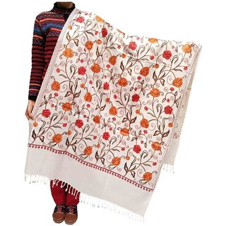 Varun Cloth House Womens Woollen Embroidery Shawl (vch5838, White, Free Size)