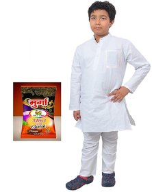 Kids White Cotton Kurta Pyjama with gulal