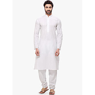 Men's White Cotton Kurta Pyjama