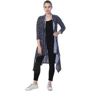 BuyNewTrend Navy Blue Hosiery Lycra Striped Long Shrug For Women