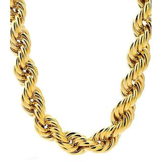 Rope chain 22 kt gold plated one gram 24 inch daily use real look for men women 5630