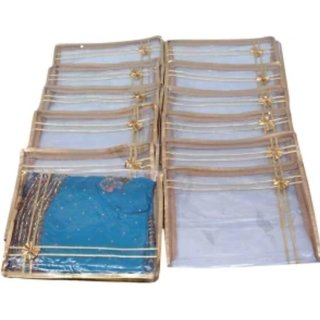 Kuber Industries Saree Cover 12 Pcs Combo In Designer Golden Plastic With Bow
