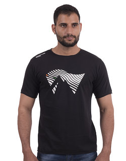Men's Short Sleeve, Raw-Edge Cotton T-Shirt - Black