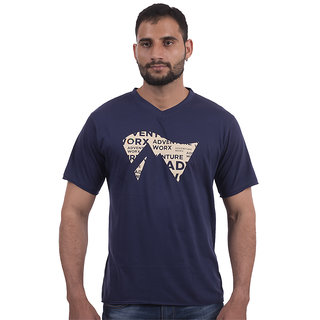 Men's V-Neck, Raw-Edge Cotton T-Shirt - Blue