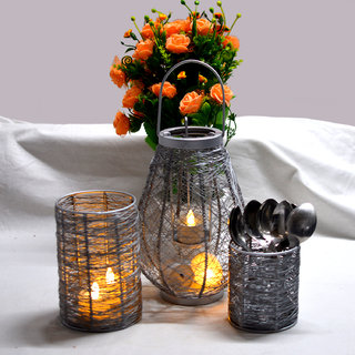 Handcrafted Decorative Handmade Wire Candle Light Holder Silver Set Of 3 Home Decorative