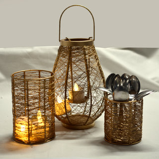 Handcrafted Decorative Handmade Wire Candle Light Holder Golden Set Of 3 Home Decorative