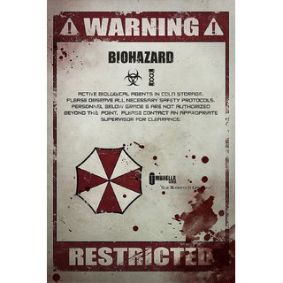 5 ACE RESIDENT EVIL WARNING WALL POSTER OF 300 GSM (12X18) WITHOUT FRAME |Sticker Paper Poster, 12x18 Inch