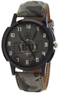 Golden Bell Original Green Dial Army Leather Strap Analog Wrist Watch for Men - GBA-01