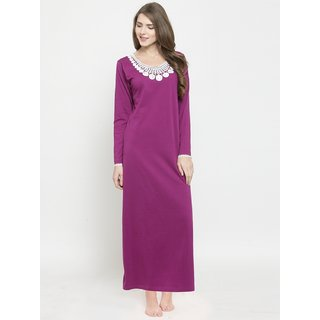 558bbcbfacc Buy Claura Women Purple Cotton Long Nighty Online - Get 66% Off