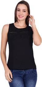 POPWINGS Front Lace Sleeveless Round- Neck Poly Moss Fabric Plain Casual Women top Black