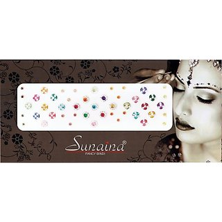 Sunaina Beautiful Diamond Round Forehead Multicolor Bindis