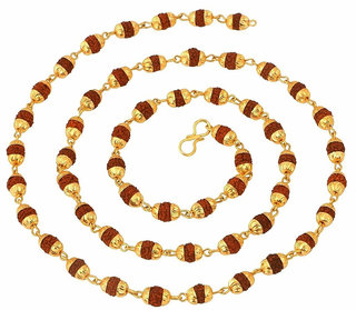 Gold Plated Rudraksh Mala Chain Long 24 inches for Men