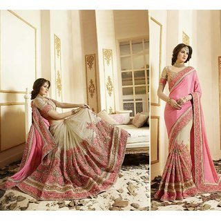Embroidered Pink Colour Silk Georgette Net Saree for women With Blouse Material