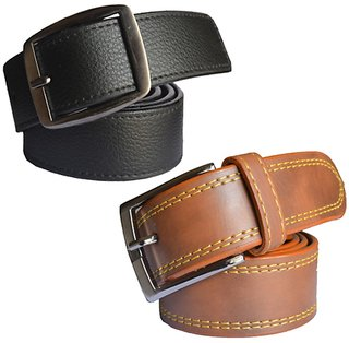 Black  Brown Leatherite Pin-Hole Buckle Belt For Mens