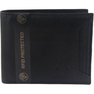 Krosshorn Men Black Genuine Leather RFID Protected Wallet(KWRF1113)