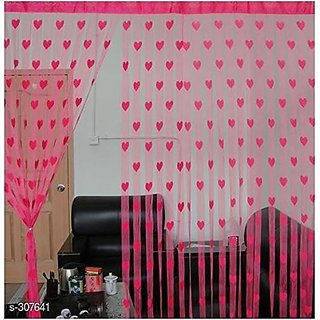 HomeStore-YEP 2 Piece Heart Door Curtains (Pink)