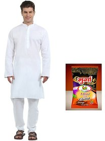 Men's White Cotton Kurta Pyjama with free gulaal