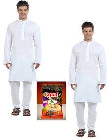 Men's White Cotton Kurta Pyjama (Set of 2) with free Holi Gulaal