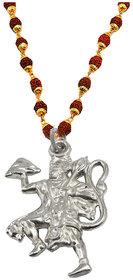 Sullery Religious Jewellery Lord Pawan Putra Hanuman Locket With Puchmukhi Rudraksha Mala