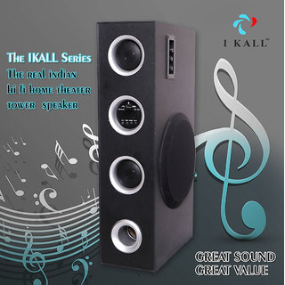 I Kall IK-022 Tower Speaker 150 W Bluetooth Tower Speaker (Black Stereo Channel)