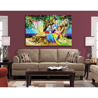Romantic Radha Krishna Love Painting on canvas for Living Room