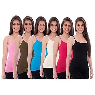 Women's Pack Of 6 Plain Camisole (Color May Vary)